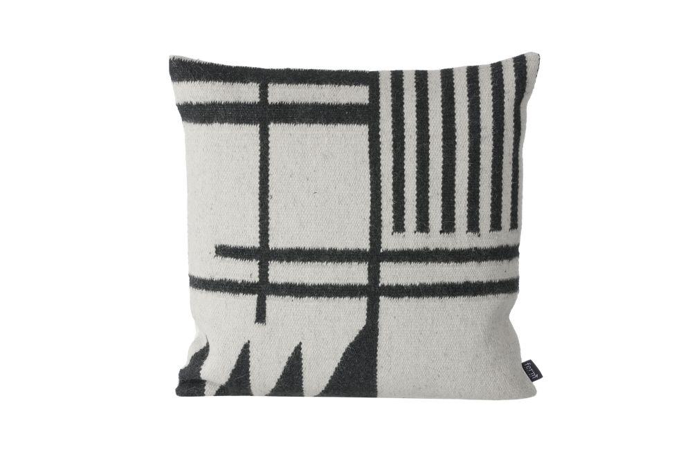 Kelim Cushion, Black Lines - Set of 4 by ferm LIVING