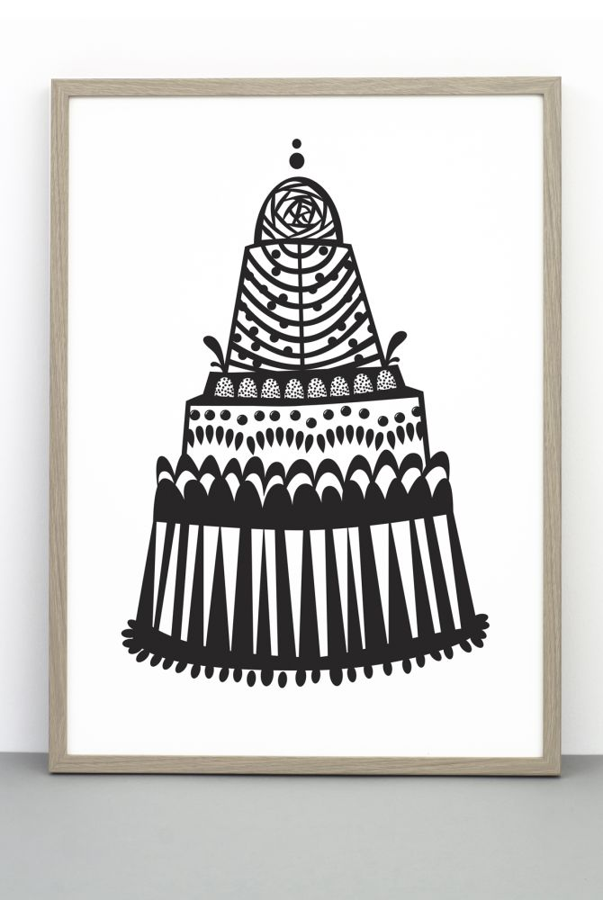 A MOUNT TREAT CAKE mono print,One Must Dash,Prints & Artwork,black-and-white,font,room