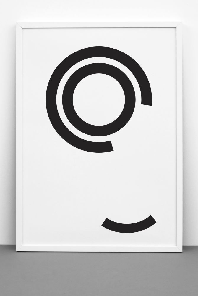 DISTURBED CIRCLES print,One Must Dash,Prints & Artwork,black-and-white,circle,design,font,line,white