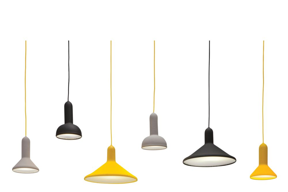 Signal Grey Shade with Yellow Cable,Established & Sons,Pendant Lights,light fixture,lighting