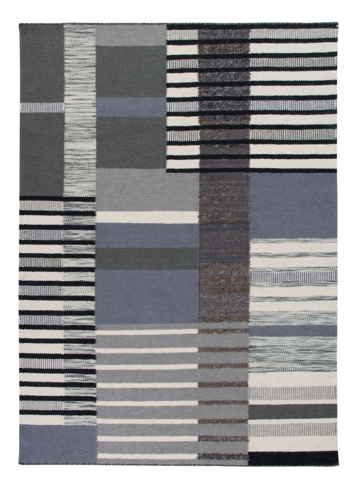 The City: Contemporary Handwoven Wool & Jute Rug,Ana & Noush,Rugs,beige,black,grey,line,rectangle,rug