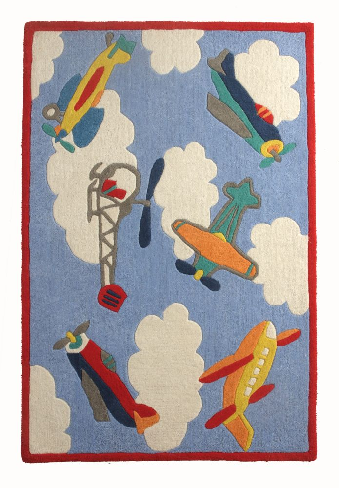 Flying Machines: Childrens Wool Rug,Ana & Noush,Rugs,art,painting,rug,textile