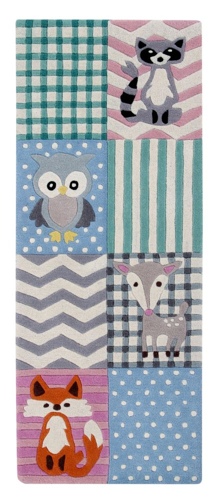 Woodland Creatures: Childrens Wool Rug (Runner),Ana & Noush,Rugs,owl,pattern,product,textile