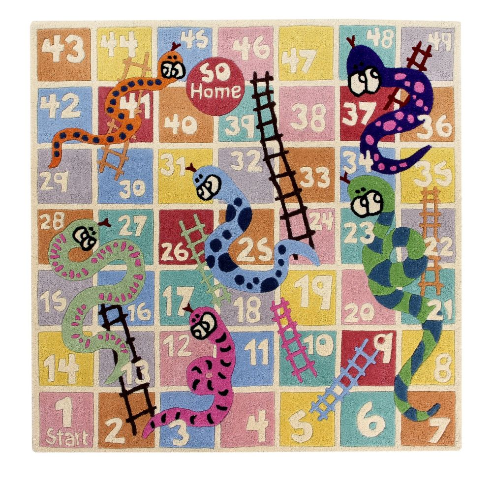 Snakes & Ladders: Childrens Wool Rug,Ana & Noush,Rugs,art,games