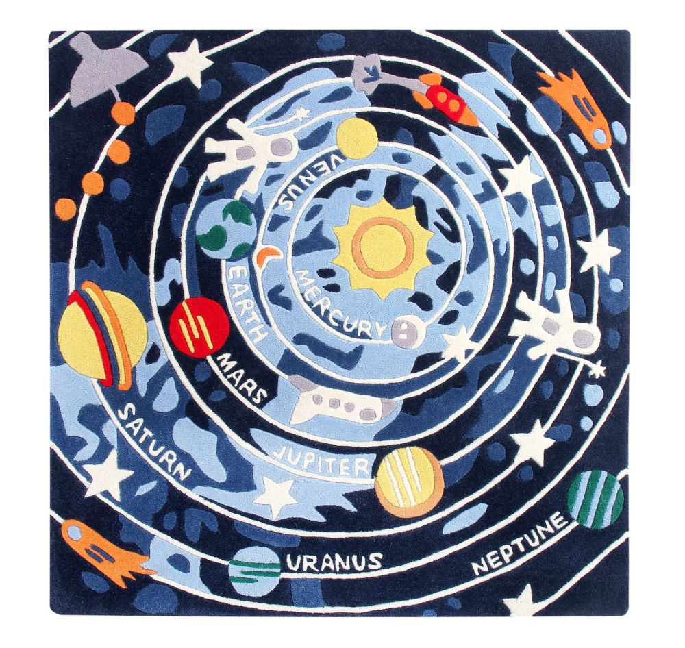 Solar System: Childrens Wool Rug,Ana & Noush,Rugs,circle