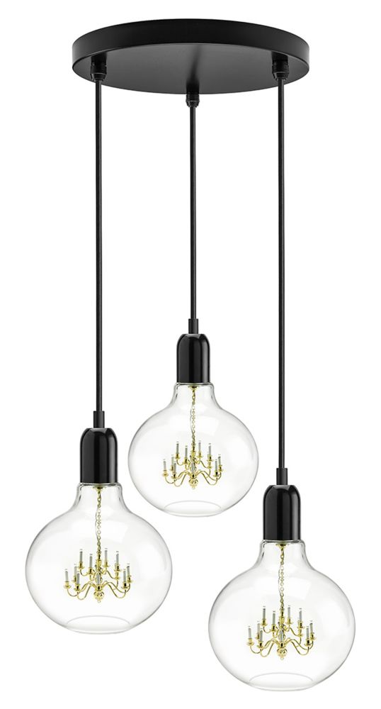 King Edison Trio Gold Pendant Lamp,Mineheart,Pendant Lights,ceiling,ceiling fixture,chandelier,lamp,lampshade,light fixture,lighting,lighting accessory,product