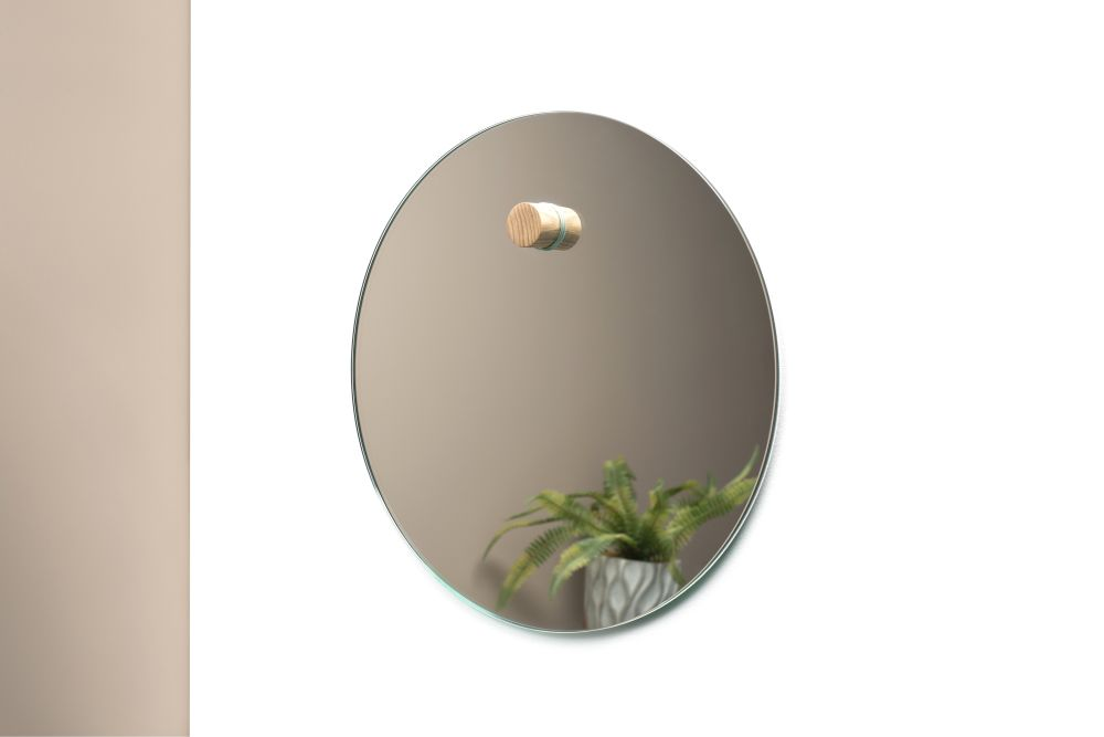 Harpa Mirror with walnut dowel,Psalt Design,Mirrors,leaf