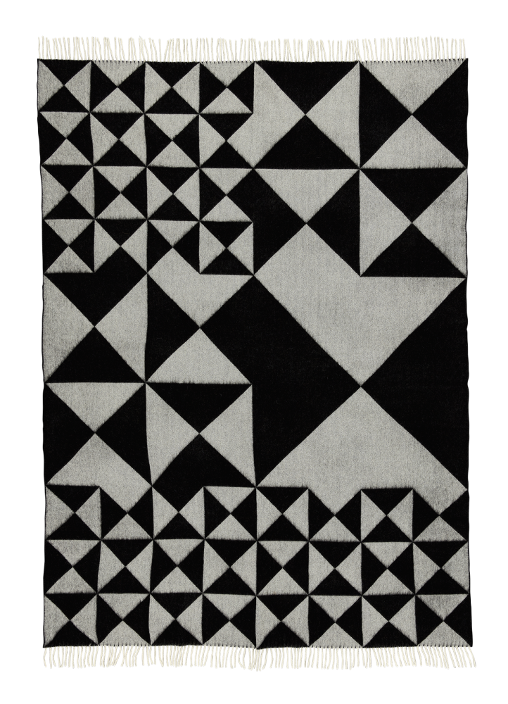 Yellow,Verpan,Blankets & Throws,black,black-and-white,design,line,pattern,tile,triangle