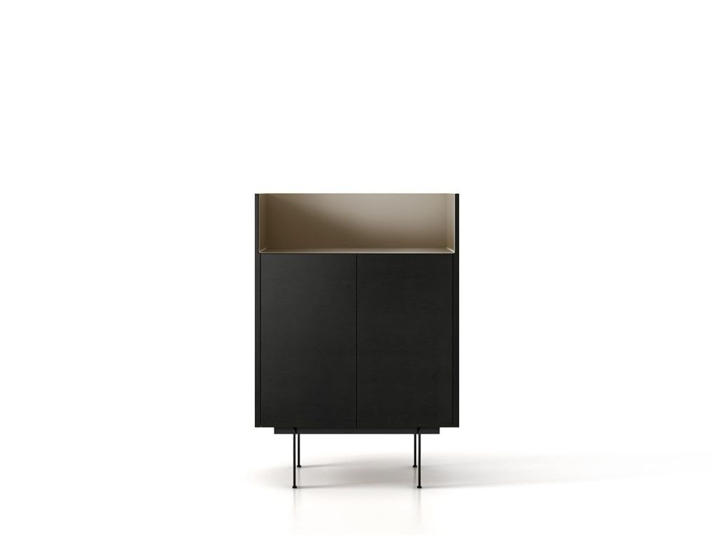Dark Stained Walnut, Bronze Anodised Aluminium, Black Textured Metal, 29cm,Punt,Cabinets & Sideboards,furniture