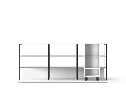Super-matt Oak, Super-matt Oak, White Textured Metal,Punt,Bookcases & Shelves,bookcase,furniture,line,shelf,shelving,table