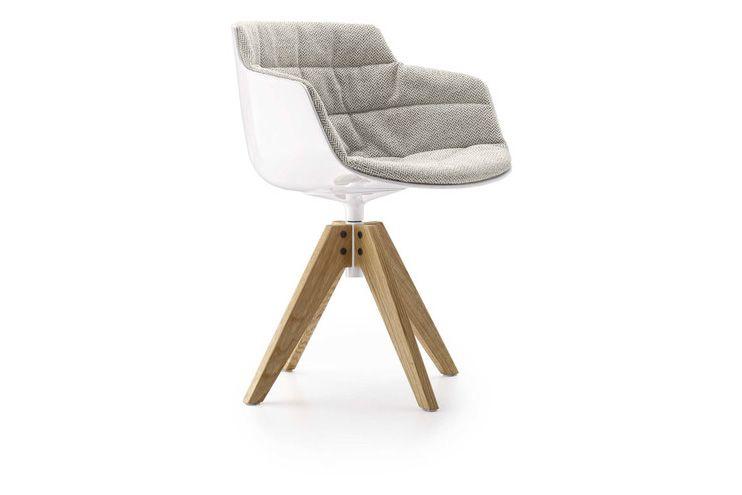 Flow Slim Chair, VN 4 Legged Oak Base, Padded by MDF Italia