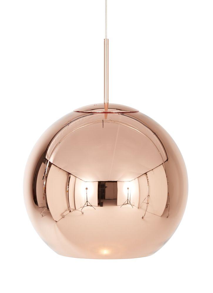 Copper Round Pendant Light by Tom Dixon