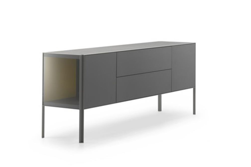 Medium Grey  Structure & Transparent Glass Side Panel, Petrol Blue,MDF Italia,Chest of Drawers,drawer,furniture,sideboard,table