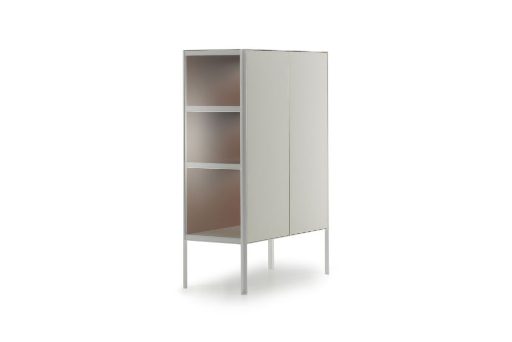 Medium Grey  Structure & Transparent Glass Side Panel, Petrol Blue,MDF Italia,Chest of Drawers,cupboard,furniture,shelf,shelving,wardrobe