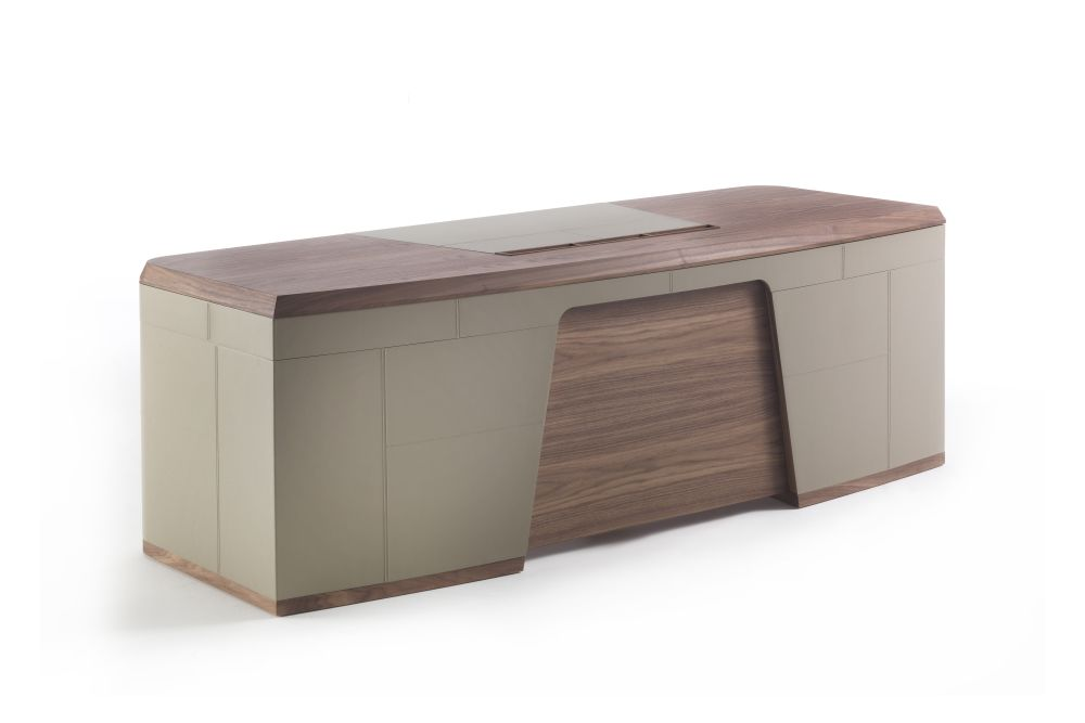 canaletta walnut, Cuoietto Naturale,Porada,Office Tables & Desks,beige,bench,desk,furniture,material property,product,rectangle,table