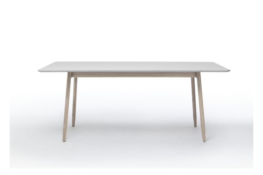 Mushroom Top & White Oiled Oak Base, 240cm,Massproductions,Dining Tables,coffee table,desk,furniture,outdoor table,plywood,rectangle,sofa tables,table