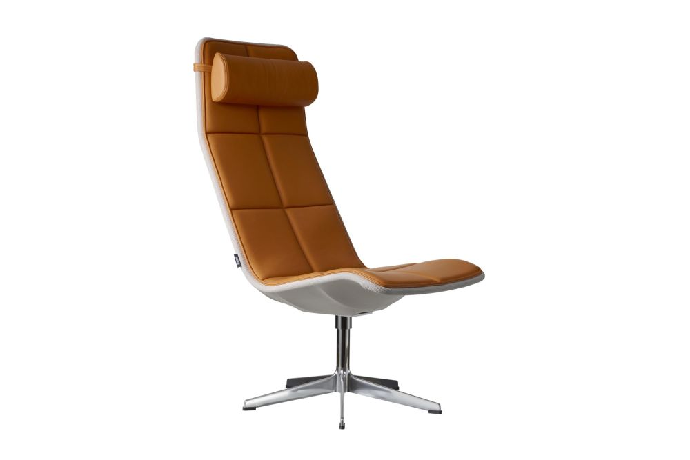 Kite High Back Swivel Chair with Neck Cushion by Swedese