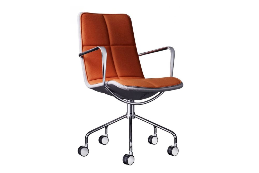 Light Grey Net, White Steel, Elmo Soft 01003, Leather Wrapped Armrest,Swedese,Office Chairs,armrest,chair,furniture,line,material property,office chair,orange,product