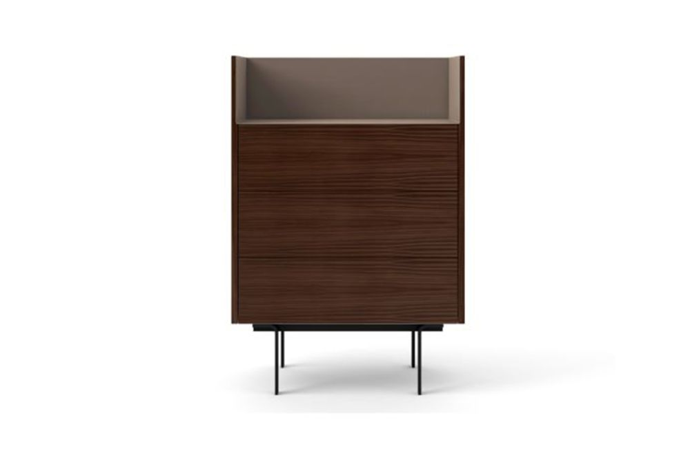 Dark Stained Walnut, Bronze Anodised Aluminium, Black Textured Metal,Punt,Cabinets & Sideboards,chest of drawers,chiffonier,cupboard,drawer,furniture,shelf