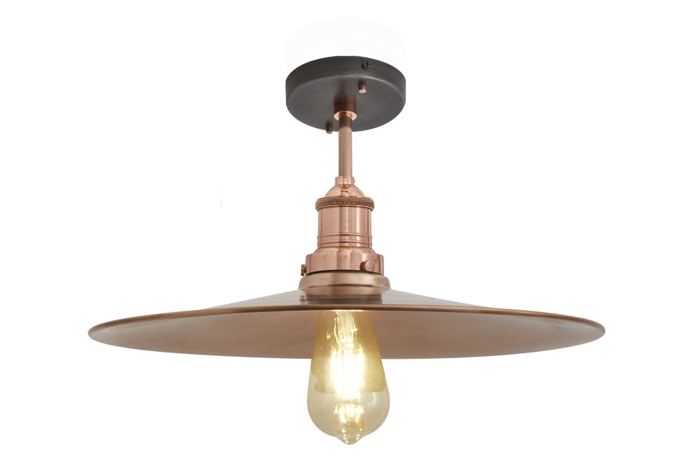 Brooklyn Flat Flush Mount - 15 Inch - Brass - Pewter Holder,INDUSTVILLE,Ceiling Lights,ceiling,ceiling fixture,lamp,light,light fixture,lighting,lighting accessory,metal