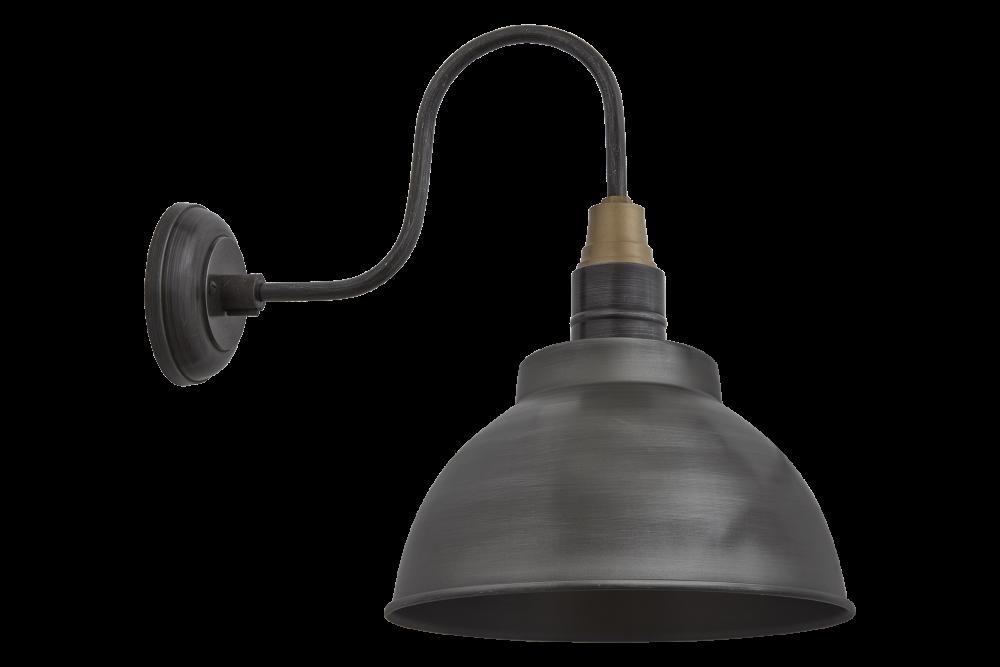Swan Neck Dome Wall Light - 13 Inch - Brass - Brass Holder,INDUSTVILLE,Wall Lights,lamp,light fixture,lighting,lighting accessory,sconce