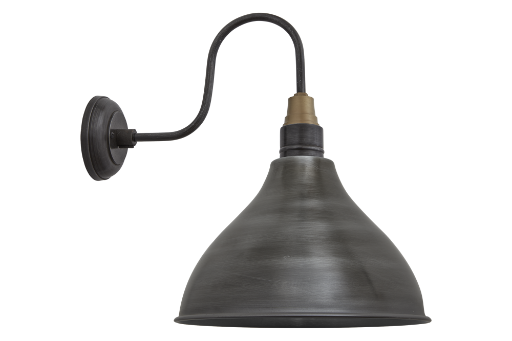 Swan Neck Cone Wall Light - 12 Inch - Pewter - Pewter Holder,INDUSTVILLE,Wall Lights,iron,lamp,light fixture,lighting,sconce