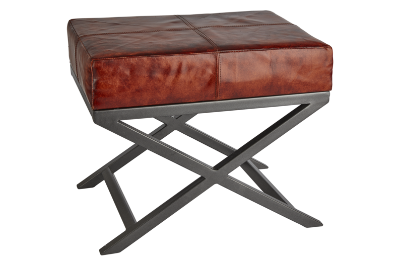 Criss Cross Real Leather & Metal Bench - 17 Inch,INDUSTVILLE,Benches,furniture,stool,table