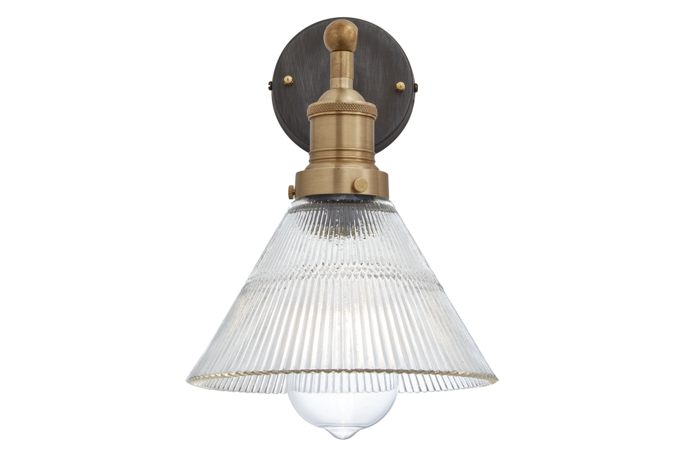 Brooklyn Glass Funnel Wall Light - 7 Inch - Brass Holder,INDUSTVILLE,Wall Lights,ceiling fixture,lamp,light,light fixture,lighting,sconce