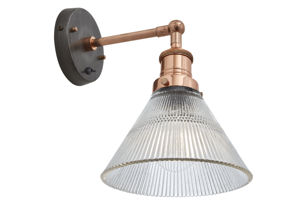 Brooklyn Glass Funnel Wall Light - 7 Inch - Brass Holder,INDUSTVILLE,Wall Lights,ceiling,lamp,light,light fixture,lighting,sconce,track lighting
