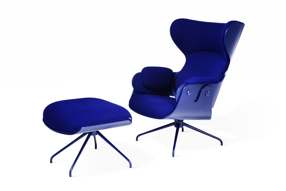 Lounger Armchair with Footstool - Swivel Base, Set of 2 by BD Barcelona