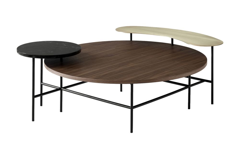 Walnut veneer,  Brass, Nero Marquina marble,&Tradition,Coffee & Side Tables,coffee table,furniture,outdoor table,plywood,table