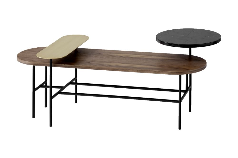 Brass, Nero Marquina, lacquered walnut,&Tradition,Coffee & Side Tables,coffee table,desk,furniture,line,outdoor table,plywood,rectangle,table