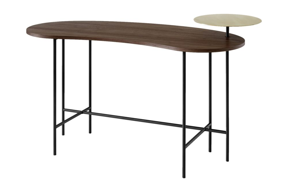 Lacquered walnut & Brass,&Tradition,Office Tables & Desks,desk,furniture,line,outdoor table,rectangle,table