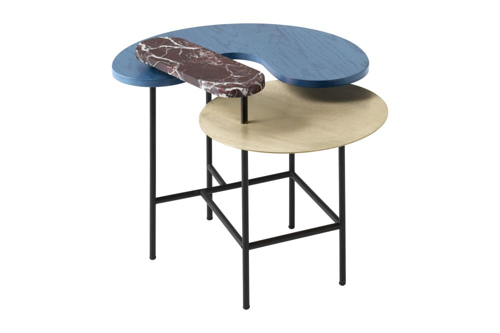 Brass, red Rosso Levanto marble, blue ash,&Tradition,Coffee & Side Tables,furniture,table
