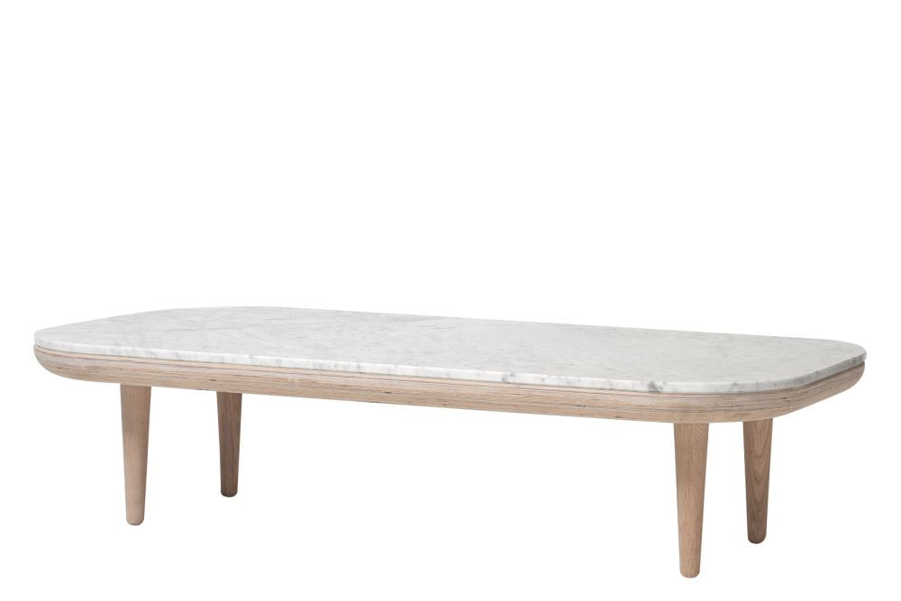 White oiled oak base with honed Bianco Carrara marble,&Tradition,Coffee & Side Tables,coffee table,furniture,rectangle,table