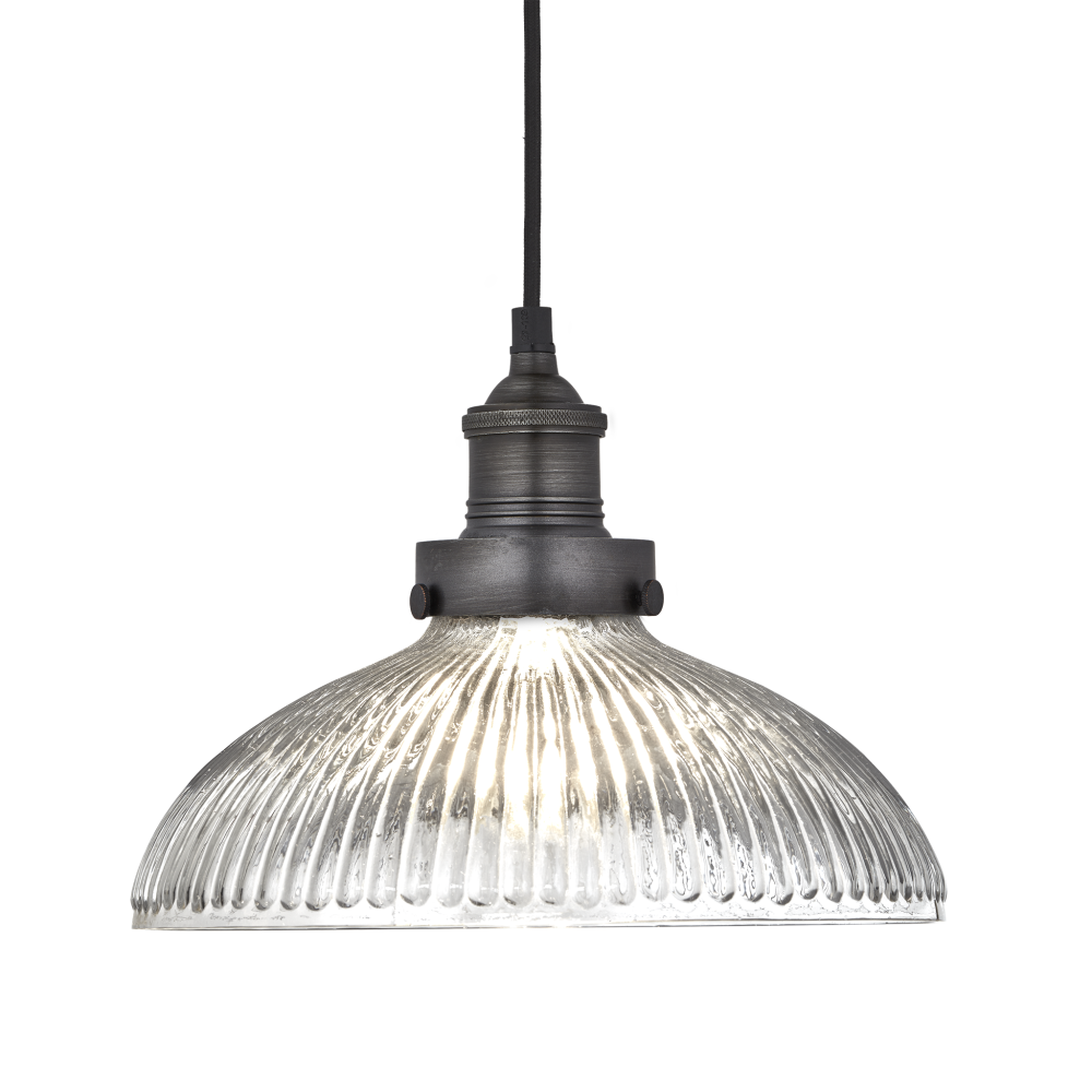 Brooklyn Glass Dome Pendant - 12 Inch - Pewter Holder,INDUSTVILLE,Pendant Lights,ceiling,ceiling fixture,iron,lamp,lampshade,light,light fixture,lighting,lighting accessory,metal