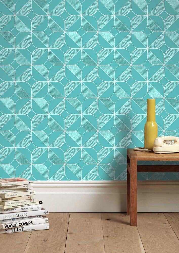 Order A Roll,Sian Elin ,Wallpapers,aqua,azure,design,floor,interior design,pattern,room,teal,tile,turquoise,wall,wallpaper