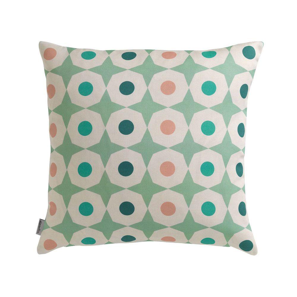 Cushion + Pad,Sian Elin ,Cushions,aqua,beige,circle,cushion,design,furniture,home accessories,pattern,pillow,polka dot,teal,textile,throw pillow,turquoise