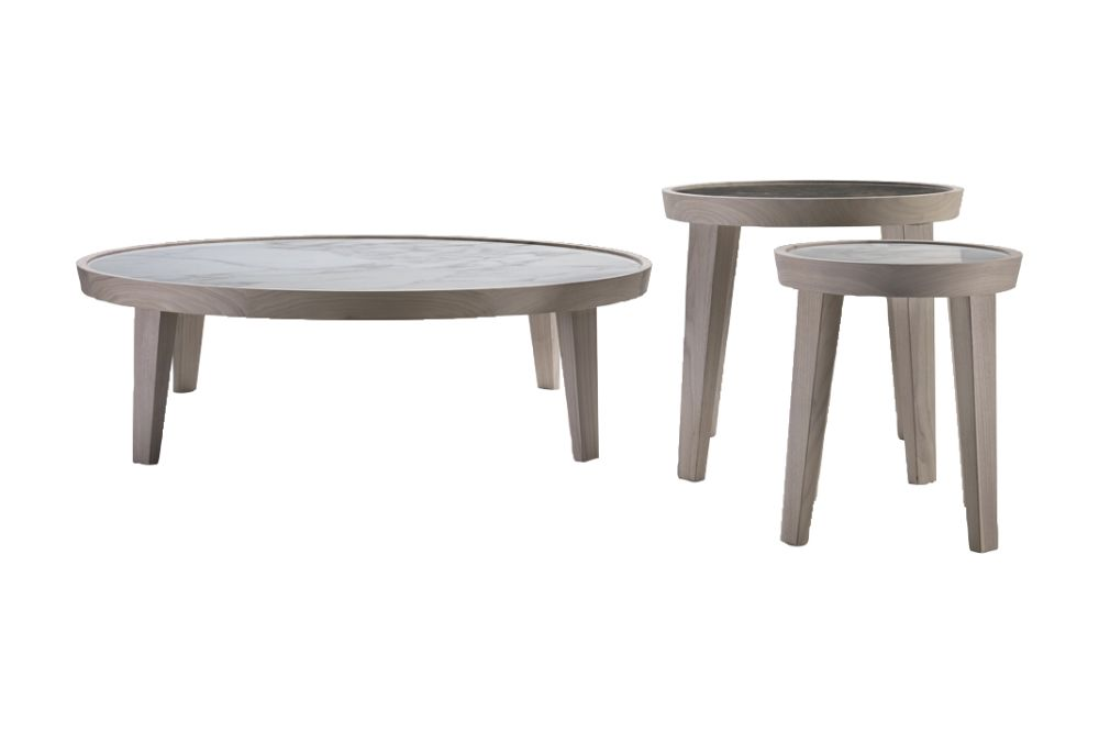 Marble Carrara, Wood Finishes Ashwood Stained Teak,Flexform,Coffee & Side Tables,coffee table,end table,furniture,outdoor table,stool,table
