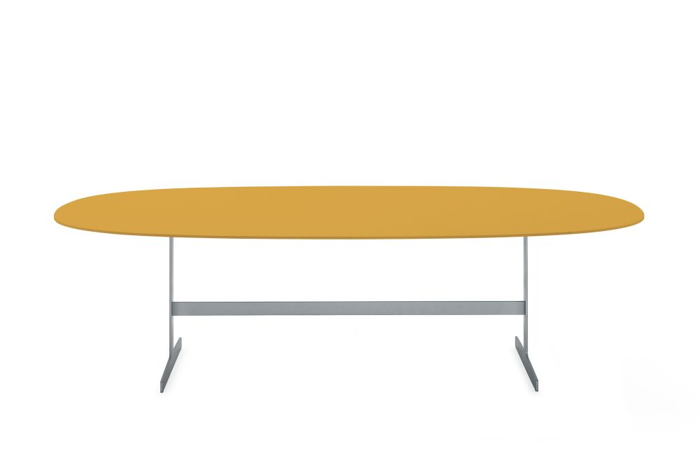 Lx 76 Verde Inglese, 260 X 120 X 72,Cappellini,Dining Tables,coffee table,furniture,line,outdoor table,oval,table,yellow