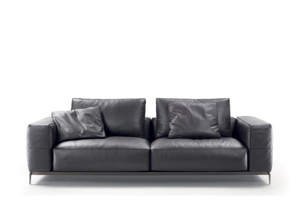 Sable 1640, Black Chrome, Hide Leather - Suede Russian Red 5008, 240cm,Flexform,Sofas,couch,furniture,leather,room,sofa bed