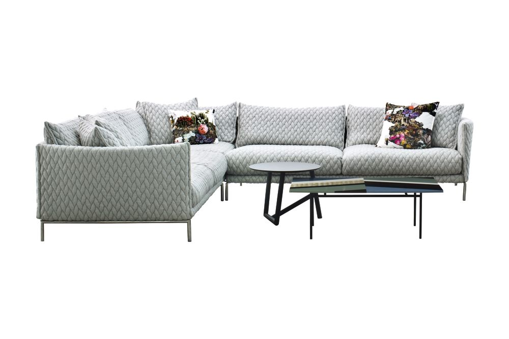 Right, 285 x 330 x 76, A7339 - Units 1 Bernini grey/beige, Steel Chrome,Moroso,Sofas,armrest,coffee table,comfort,couch,furniture,loveseat,outdoor sofa,product,room,sofa bed,studio couch,table