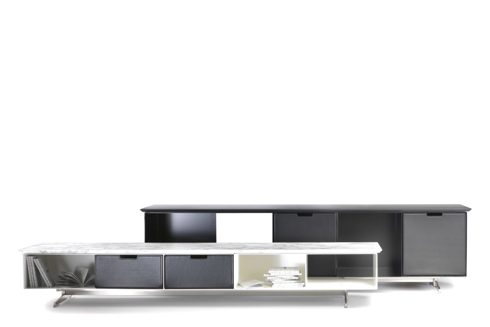 Marble Carrara, Metal Black 900, Black Chrome, 32,Flexform,Cabinets & Sideboards,furniture,product,sideboard,table