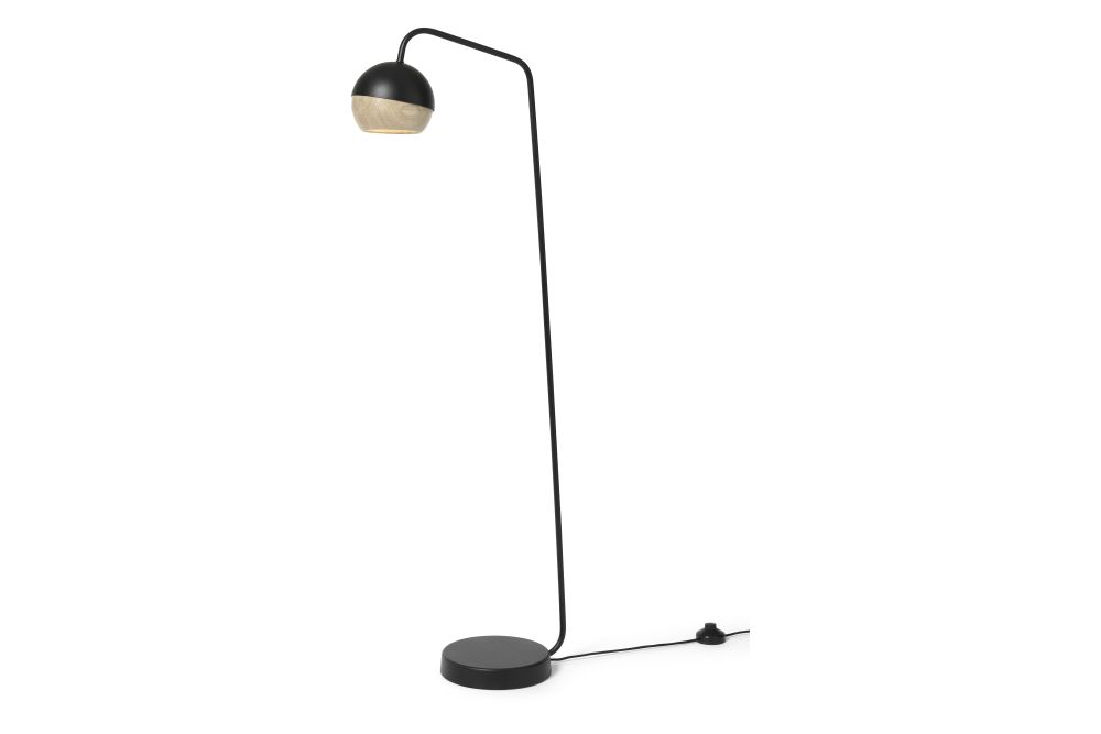 White Steel Frame & Natural Oak Shade,Mater,Floor Lamps,lamp,light,light fixture,lighting,microphone stand,street light