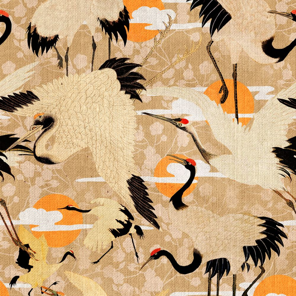 Birds of Happiness,Mind The Gap,Wallpapers,art,bird,crane,crane-like bird,orange,pattern