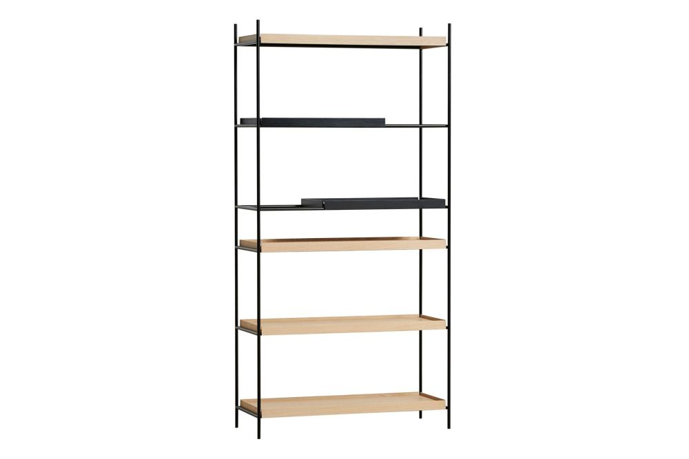 2 Short Black Oak, 4 Wide Natural Oak Shelves,WOUD,Bookcases & Shelves,furniture,shelf,shelving