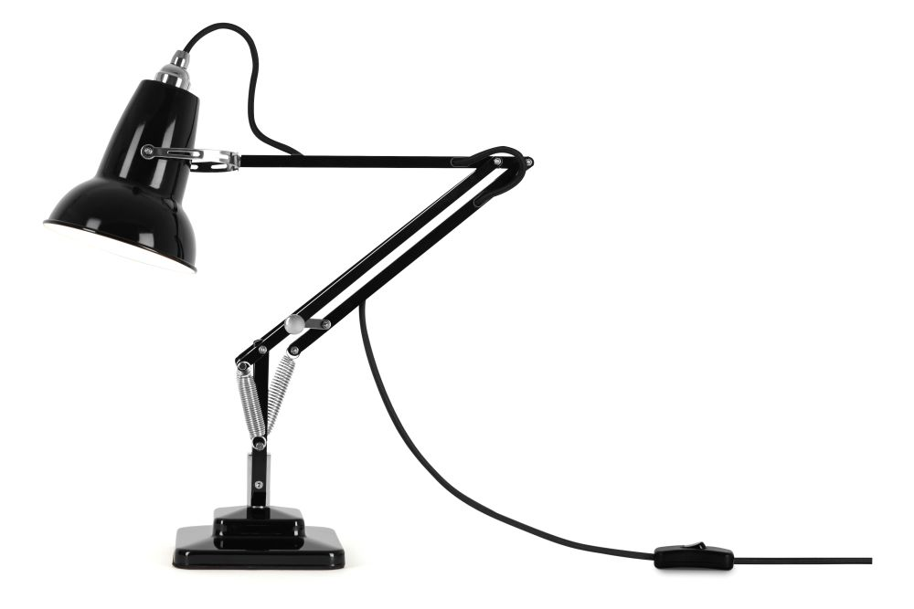 Jet Black,Anglepoise,Desk Lamps,arm,audio equipment,lamp,light fixture,microphone,microphone stand