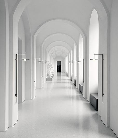 With plug,Matt graphite lacquer,Vibia,Wall Lights,aisle,arcade,arch,architecture,black-and-white,building,ceiling,line,symmetry,white