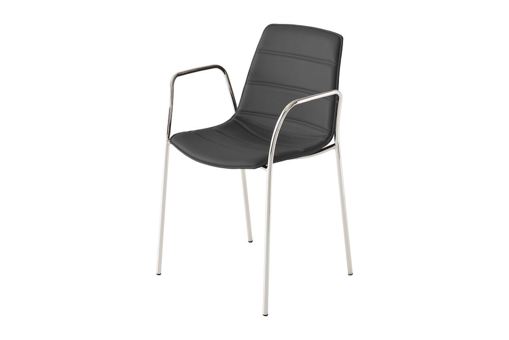 Chromed Metal, Simil Leather Aurea 1,Gaber,Breakout & Cafe Chairs,black,chair,furniture,line