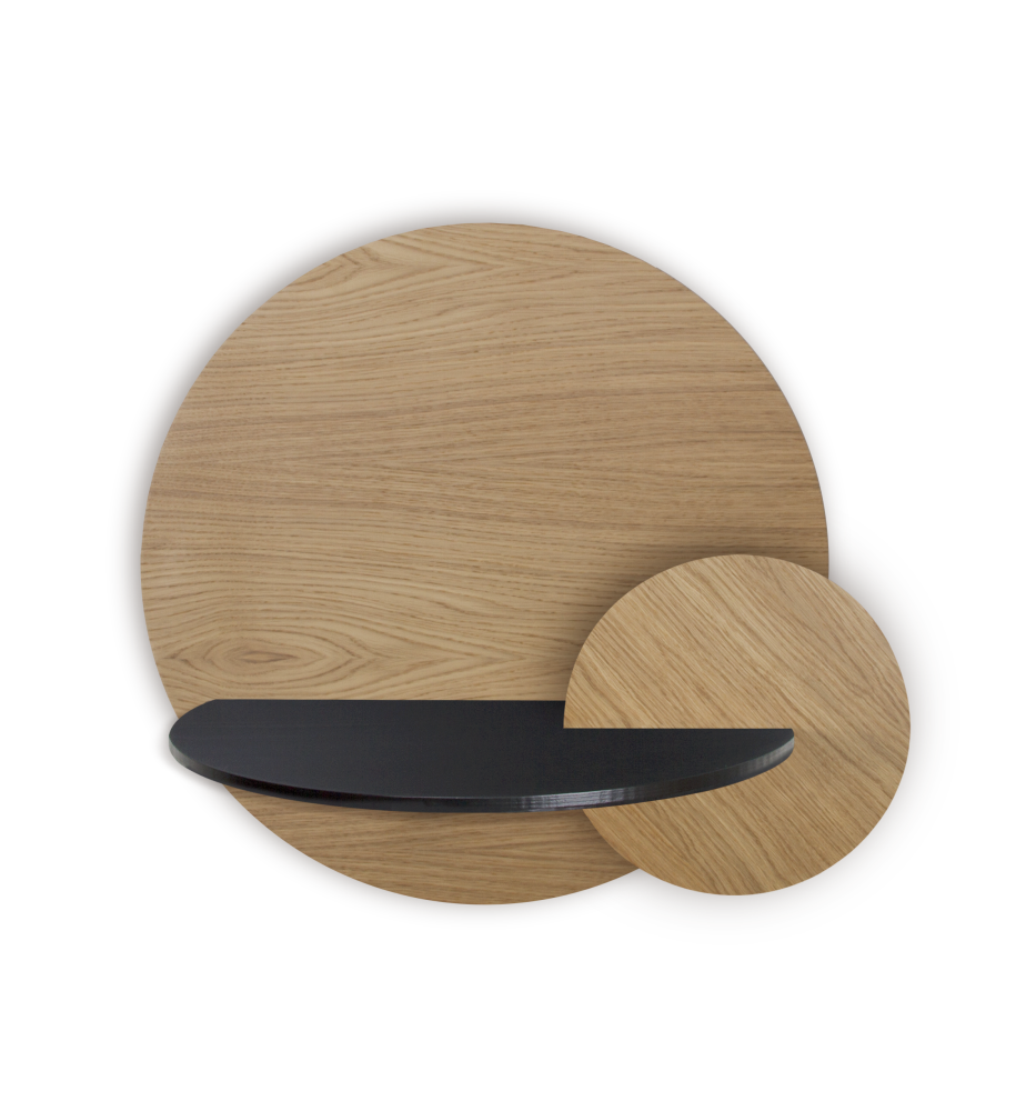 ALBA L, Walnut Round, Black cover and circle Walnut front panel,WOODENDOT,Bedside Tables,beige,plywood,wood
